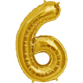 34 inch Gold Number 6 Foil Mylar Balloon