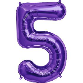 34 inch Purple Number 5 Foil Mylar Balloon