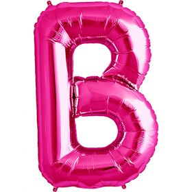 34 inch Magenta Letter B Foil Mylar Balloon