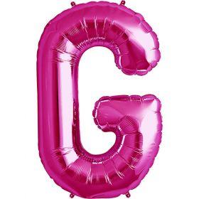 34 inch Magenta Letter G Foil Mylar Balloon