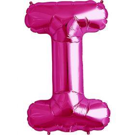 34 inch Magenta Letter I Foil Mylar Balloon