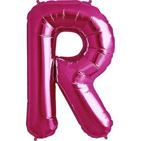 34 inch Magenta Letter R Foil Mylar Balloon