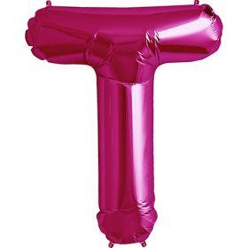 34 inch Magenta Letter T Foil Mylar Balloon