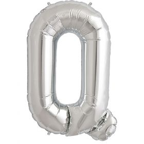 34 inch Silver Letter Q Foil Mylar Balloon