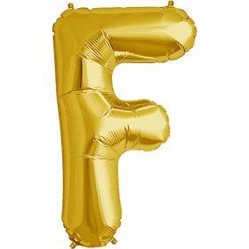 34 inch Kaleidoscope Gold Letter F Foil Mylar Balloon