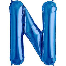 34 inch Blue Letter N Foil Mylar Balloon