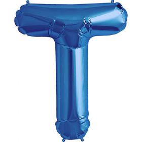 34 inch Blue Letter T Foil Mylar Balloon