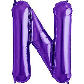34 inch Purple Letter N Foil Mylar Balloon