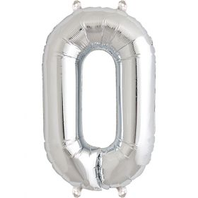 16 inch Silver Number 0 Foil Mylar Balloon