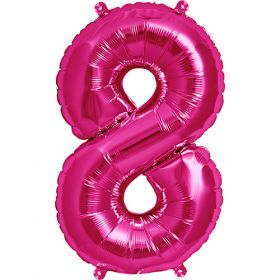 16 inch Magenta Number 8 Foil Mylar Balloon