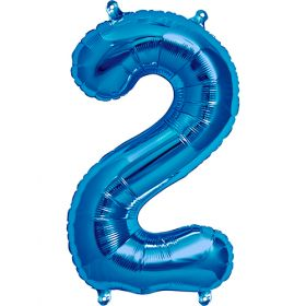 16 inch Blue Number 2 Foil Mylar Balloon