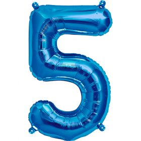 16 inch Blue Number 5 Foil Mylar Balloon
