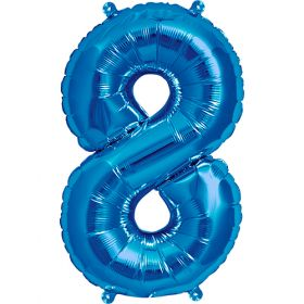 16 inch Blue Number 8 Foil Mylar Balloon