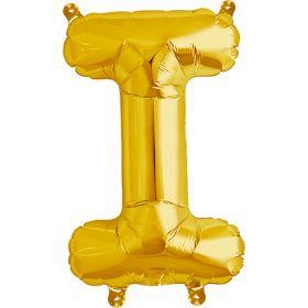 16 inch Northstar Gold Letter I Foil Mylar Balloon