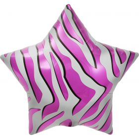 22 inch Pink Zebra Stripe Star Foil Balloons