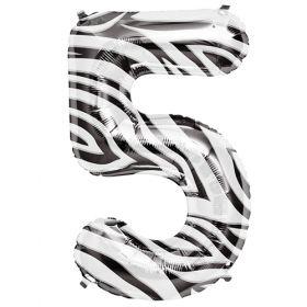 34 inch Zebra Stripe Number 5 Foil Mylar Balloon