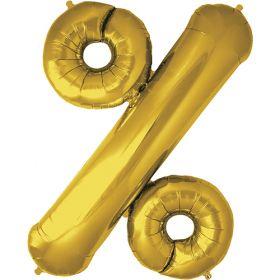 34 inch Gold Northstar Percent Symbol Foil Balloon