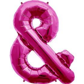 34 inch Magenta Ampersand Foil Mylar Balloon