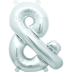 16 inch Silver Ampersand Foil Mylar Balloon