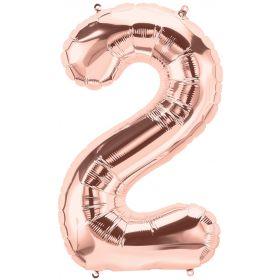 34 inch Rose Gold Number 2 Foil Mylar Balloon