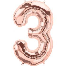 34 inch Rose Gold Number 3 Foil Mylar Balloon