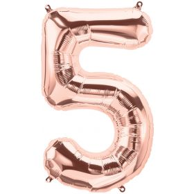 34 inch Rose Gold Number 5 Foil Mylar Balloon