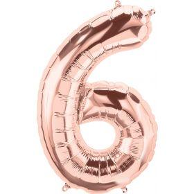 34 inch Rose Gold Number 6 Foil Mylar Balloon