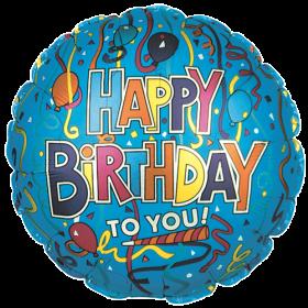 18 inch Foil Mylar Circle Festive Birthday Blue Balloon - Flat