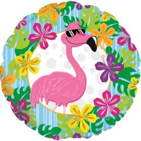 18 inch Flamingo Luau Foil Mylar Circle Balloon