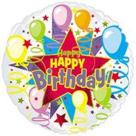 18 inch CTI Happy Birthday Starburst Foil Balloon - Packaged