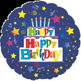 18 inch Foil Mylar Circle Happy Happy Birthday Blue Balloon - Flat