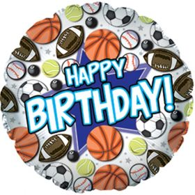 18 inch CTI Happy Birthday Sports Foil Balloon - Packaged