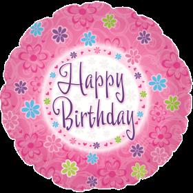 18 inch Foil Mylar Circle Pinkish Happy Birthday Balloon - Flat