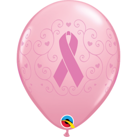 Qualatex 11 inch Breast Cancer Awareness Pink Ribbon Latex Balloons - 50 count