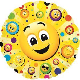 24 inch Smiley Faces Galore Foil Mylar Circle Balloon