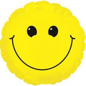 31 inch Yellow Smiley Face Foil Mylar Circle Balloon