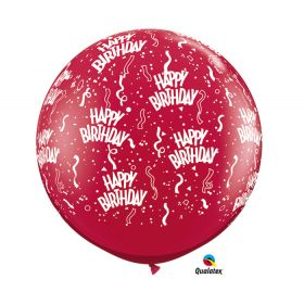 Qualatex Happy Birthday Around Ruby Red 36 inch Latex Balloons -  2 count