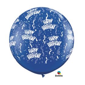 Qualatex Happy Birthday Around Sapphire Blue 36 inch Latex Balloons - 2 count