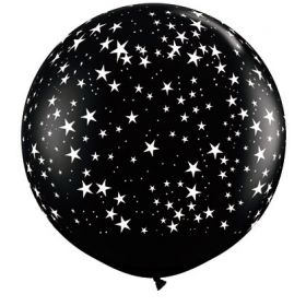 Qualatex Stars Around Onyx Black 36 inch Latex Balloons - 2 count