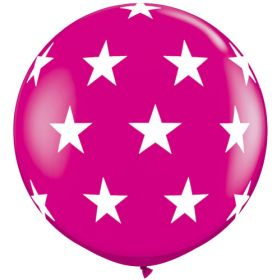 Qualatex Big Stars Around Wild Berry 36 inch Latex Balloons - 2 count