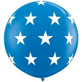 Qualatex Big Stars Around Dark Blue 36 inch Latex Balloons - 2 count