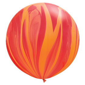 Qualatex Red/Orange Rainbow Agate 30 inch Latex Balloon - 2 count