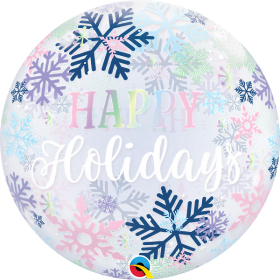 22 inch Qualatex Happy Holidays Snowflakes Bubble Balloon