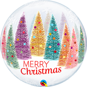 22 inch Qualatex Christmas Trees & Snowflakes Bubble Balloon