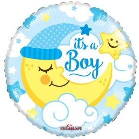 18 inch It's A Boy With Moon Circle Foil Mylar Balloon