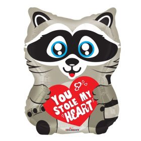 18 inch Kaleidoscope You Stole My Heart Raccoon Shape Foil Balloon - flat