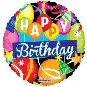 18 inch Birthday Motifs Gellibean Circle Balloon - Flat