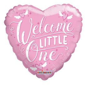 18 inch Welcome Little One Baby Pink Heart Foil Mylar Balloon