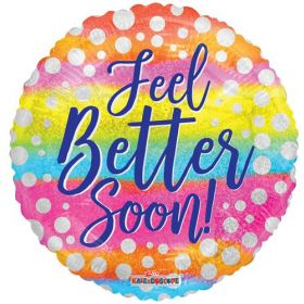 18 inch Feel Better Soon Holographic Circle Foil Mylar Balloon