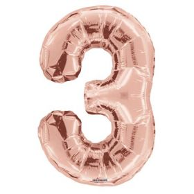 34 inch Kaleidoscope Rose Gold Number 3 Foil Balloon